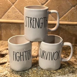 Rae Dunn Mugs Strength, Fighter and Survivor